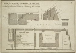 Plan of the parish of St. Mary le Strand, including Somerset House, & precinct of the Savoy